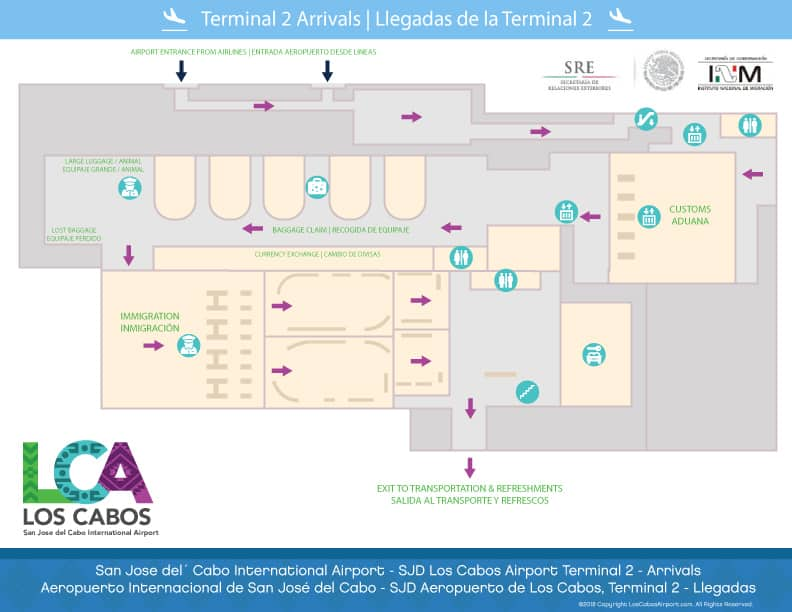 SJD Los Cabos Airport Map Terminal 2 Arrivals