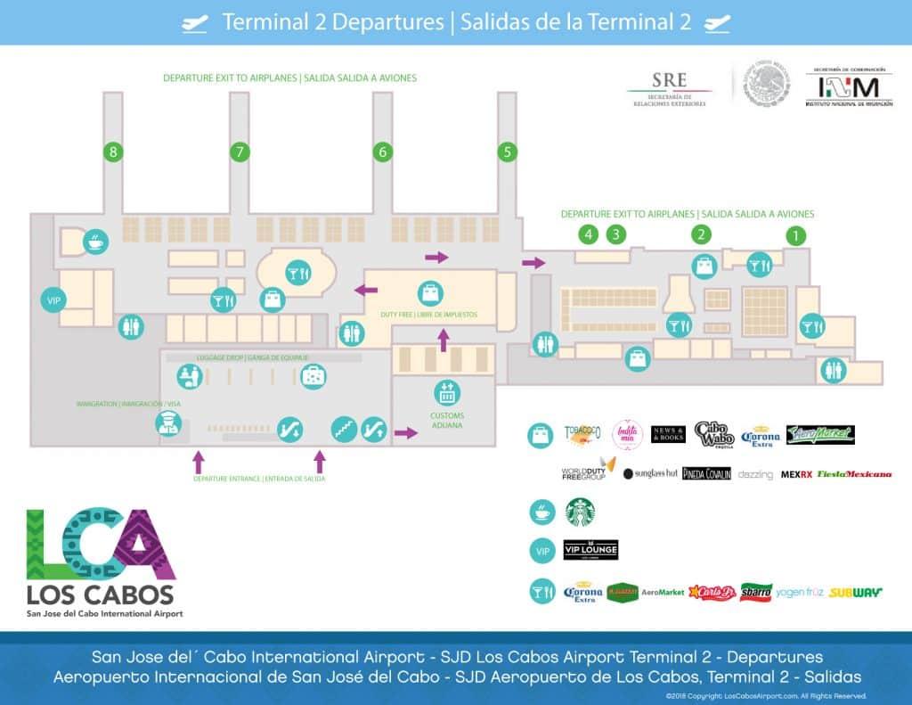 Los Cabos Airport Map Terminal 2 Departure