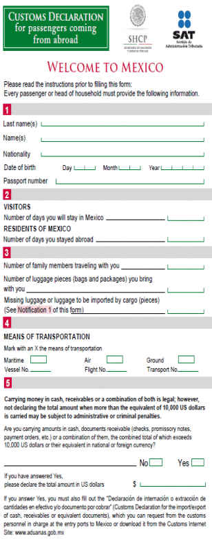 Mexico Customs Immigration Form