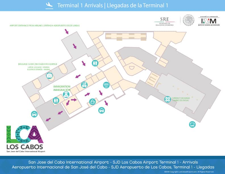 SJD Cabo Airport Map - Terminal 2 Arrivals